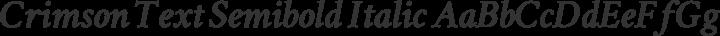 Crimson Text Semibold Italic free font