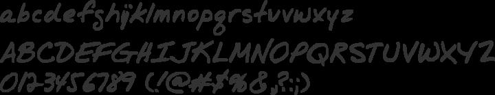 Jr Hand Font Specimen