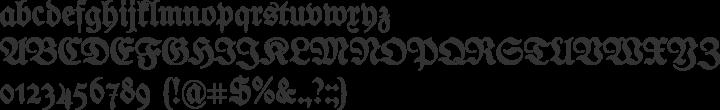 Unifraktur Maguntia Font Specimen