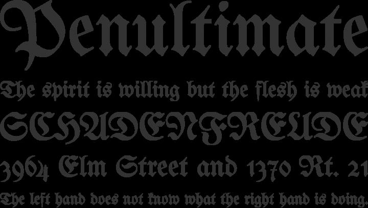 Unifraktur Maguntia Font Phrases
