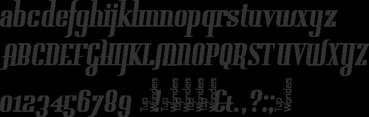 Gladifilthefte Font Specimen