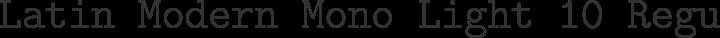 Latin Modern Mono Light 10 Regular free font
