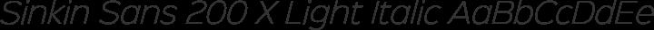 Sinkin Sans 200 X Light Italic free font