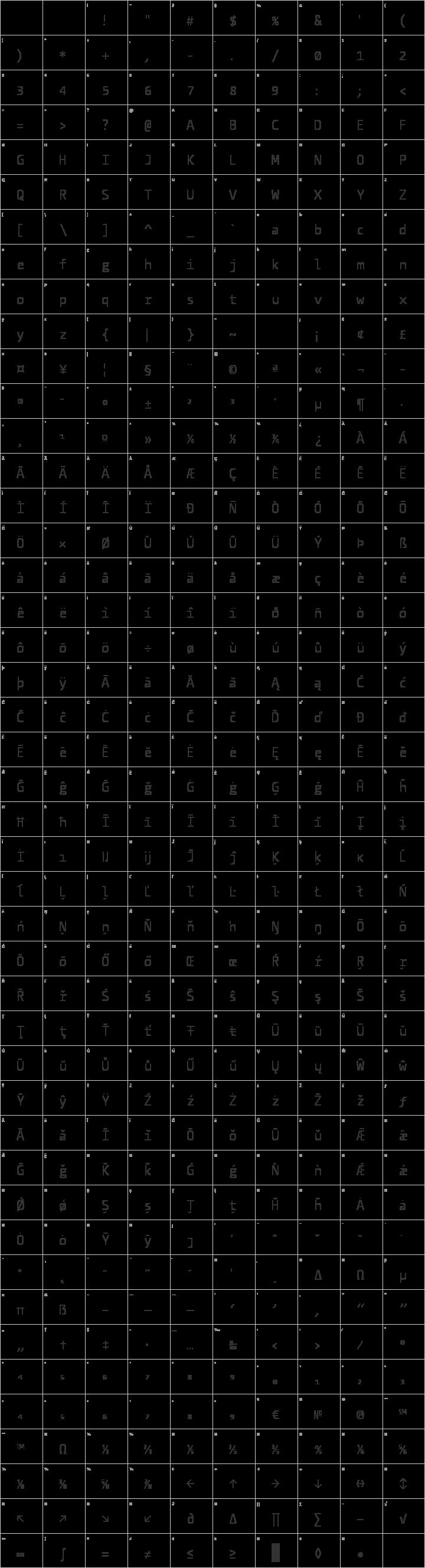 CamingoCode Glyph Map