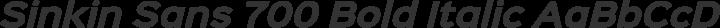 Sinkin Sans 700 Bold Italic free font